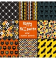 collection halloween seamless patterns vector image