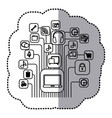 contour computer icons connections vector image vector image