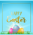 easter eggs greeting card with happy gold text vector image vector image