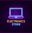 electronics store neon label vector image vector image