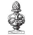 finial modern vase medals vintage engraving vector image vector image