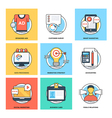 Flat Color Line Design Concepts Icons 18 vector image