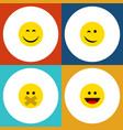 flat icon face set of laugh winking smile and vector image vector image