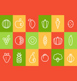 fruits and vegetables icons set food signs line vector image vector image