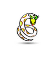 green snake painted in a child s flat style vector image vector image