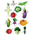 Healthful organic vegetables cartoon characters vector image vector image