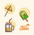 hello summer icons cartoons vector image vector image