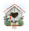 high quality watercolor birdhouse with bullfinch vector image vector image