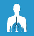 human lungs banner isolated on blue icon vector image vector image