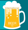 international beer day with beer mugs vector image vector image