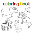 Kit of animals for coloring book vector image vector image
