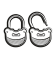 lock icon black and white vector image vector image