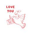 love you sketch color vector image vector image