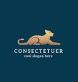 lying golden lion abstract sign emblem vector image vector image