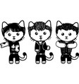 modern black and white kittens part 4 vector image vector image