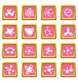 molecule icons set pink square vector image