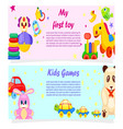 my first toy and kids games posters with text vector image vector image