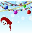 New Years background with lights and Santas face vector image vector image