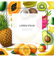 realistic exotic fruits template vector image
