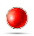 red button with silver metallic border vector image vector image