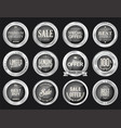 retro vintage sale silver and gray badges and vector image vector image