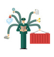 russian customs service at work officer job vector image