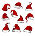 Santa christmas red hats set vector image vector image