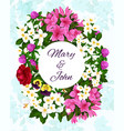 save the date wedding flowers invitation vector image vector image