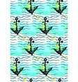 Seamless pattern with anchor and sea wave vector image vector image