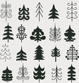 Set of christmas black trees isolated on white vector image vector image