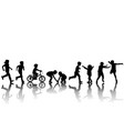 silhouettes children playing vector image vector image