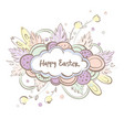 text happy easter in cloud on colorful background vector image vector image