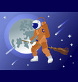 the astronaut flies on a broomstick in outer space vector image vector image