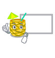 thumbs up with board pineapple juice garnished vector image vector image