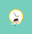 tiny businessman and big clock over him deadline vector image