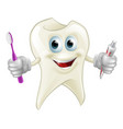 tooth man holding paste and brush vector image