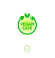 vegan cafe logo green food emblem vector image vector image