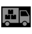white halftone goods transportation car icon vector image