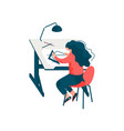 woman architect sitting at desk working on vector image vector image