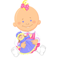 Cute baby girl playing with a toy doll vector image