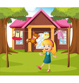 A girl in front of their house vector | Price: 1 Credit (USD $1)