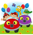 animals traveling in cars vector image vector image
