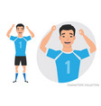 asian football character soccer player emotion vector image