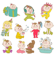 Baby Girl Cute Doodle Set vector image vector image