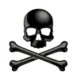 Black shaded skull and crossbones 3D icon vector image vector image