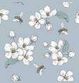 blooming tree seamless pattern with flowers vector image vector image