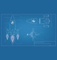blueprint spaceship vector image vector image