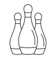 bowling set pins icon outline style vector image vector image