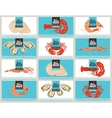 business cards with seafood vector image vector image
