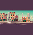 city street with houses and road vector image